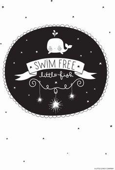 Recto verso #poster Swim free little fish 21x30 black & White & full color #kidsroom from http://www.kidsdinge.com www.facebook.com/pages/kidsdingecom-Origineel-speelgoed-hebbedingen-voor-hippe-kids/160122710686387?sk=wall http://instagram.com/kidsdinge