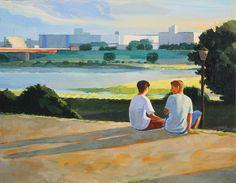 ペーターズでの展示明日木曜日は休廊です boys #painting #illustration #船津真琴 #イラスト #art #makotofunatsu #love #happy #people #Tokyo #illustrator #liquitex #acrylic #gouache #イラストレーション #絵 #draw #landscape #ペーターズ #展示