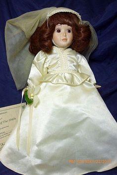 "Vtge Danbury Mint Brides of America Porcelain Doll ""Dorothy"" Bride of The 1940's #DanburyMint"