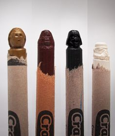 Star Wars Crayons carved by Steve Thompson. Photo by By Mark Merlot Star Wars Characters, Geek Out, Geek Chic, Cool Kids, Pop Culture, Sculptures, Geek Stuff, Carving, Art