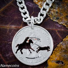 Calf Roper Necklace or Key Chain hand cut into a by NameCoins