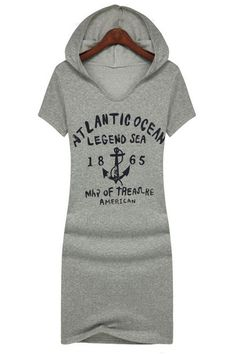 Grey Hooded Dress with a nautical theme print - great dress to wear for a casual day of shopping, hanging out with the girls, going to a movie, etc...