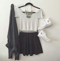 Trendy How To Wear Converse High Tops With Jeans Statement Necklaces Ideas High Top Converse, Outfits With Converse, Preppy Outfits, Skirt Outfits, Cool Outfits, Summer Outfits, Converse Fashion, White Converse, Summer Ootd