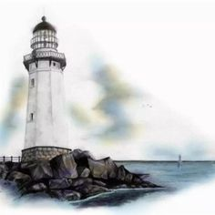Recolor Gallery Lighthouse Sketch, Lighthouse Painting, Ship Drawing, Painting & Drawing, Landscape Pencil Drawings, Charcoal Art, Cool Sketches, Watercolor Sketch, Pictures To Paint
