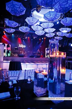 Private Events | Highline Ballroom Lounge Lighting, Event Lighting, Party Venues, Event Venues, 20th Anniversary, Anniversary Parties, Diy Ceiling Decorations, White Lounge, White Umbrella