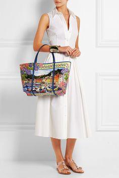 Dolce & Gabbana|Sac à main en cuir texturé imprimé Escape Portofino |NET-A-PORTER.COM