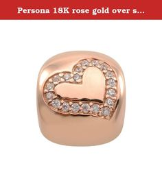 Persona 18K rose gold over sterling silver Forever Rose Charm Fits Pandora, European Charm Bracelets. Wear a symbol of eternal love with this sterling silver bead in 18k rosegold overlay. Featuring an artistic channel of CZ in the shape of a heart, this special bead is made to let your heart shine.