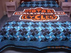 Handmade Harley Davidson Quilt Queen Size Black by LoveToSewBags