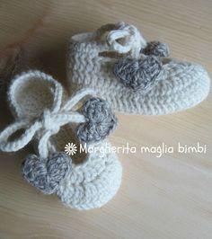Scarpine ballerine con laccetti e cuori in pura lana e alpaca anallergica, by Margherita maglia bimbi, 20,00 € su misshobby.com