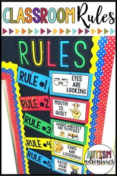 classroom rules posters FREE classroom rules for the classroom!FREE classroom rules for the classroom! Preschool Class Rules, Kindergarten Classroom Rules, Kindergarten Special Education, Classroom Rules Poster, Classroom Behavior, Autism Classroom, Classroom Setup, Quotes For The Classroom, Classroom Management