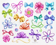 Festive BOWS watercolor Clip Art. Bow clipart mix by FiligrinaART