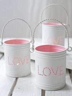 DIY Bastelideen mit Konservendosen - rosane Kerzenhalter - Laternen basteln