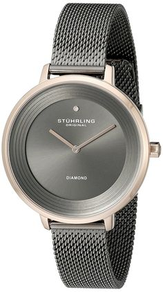 Stuhrling Original Women's 589.04 Symphony Grey And Rose-Tone Stainless Steel Diamond Watch ** Click image for more details.