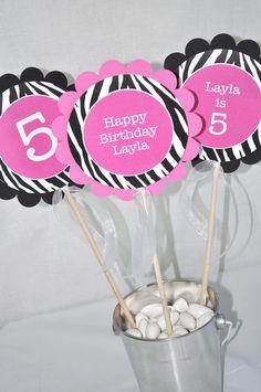 3 Girl's Zebra Stripe Birthday Centerpiece Sticks - 1st Birthday, 2nd Birthday - Pink, Black and White - Party Decorations