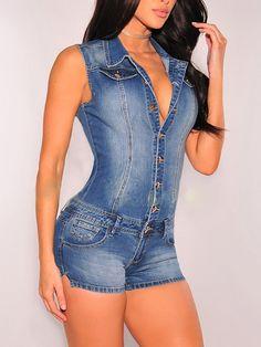 Hot Fashion Buttoned Skinny Demin Romper
