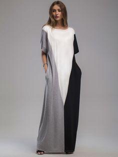Robe color-block longue avec des poches