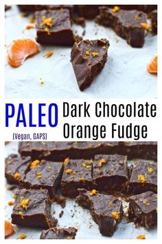 Chocolate Orange Fudge is going to become your newfavourite dessert. This chocolate fudge is made with real nourishing ingredients and is a healthy alternative to most other fudge recipes. This fudge is so easy to make and is both paleo and vegan. Paleo Dessert, Fun Desserts, Delicious Desserts, Dessert Recipes, Yummy Food, Vegan Desserts, Easy Chocolate Fudge, Paleo Chocolate, Chocolate Recipes