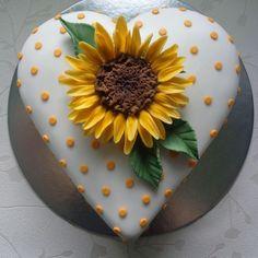 Sunflower heart cake. by Zoe Robinson