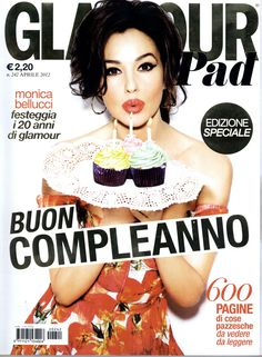 Monica Bellucci in Dolce&Gabbana SS12 celebrates 20 years of Glamour Italy on their April's cover
