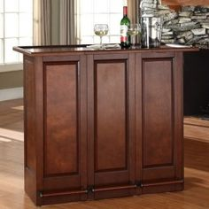 Crosley Mobile Folding Bar in Vintage Mahogany - - Bars & Bar Sets - Kitchen and Dining - Furniture Ikea Ps Cabinet, Glass Cabinet Doors, Cabinet Ideas, Wine And Liquor Cabinets, Bar Cabinets, Benches For Sale, Home Bar Designs, Bar Furniture, Bars For Home