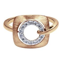 14k Pink Gold Diamond Fashion Ladies' Ring | Gabriel & Co NY | LR50561K45JJ