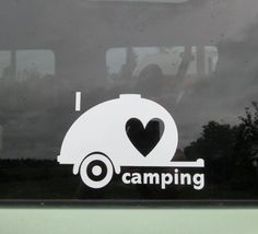 I love camping teardrop trailer car window vinyl decal. OR We love camping is also available. Square back tiny trailer available as well. Camping And Hiking, Camping Life, Family Camping, Camping Gear, Camping Hacks, Outdoor Camping, Camping Outdoors, Camping Lights, Beach Camping