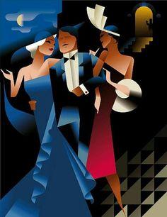 Art Deco Club Poster by Mads Berg. Arte Art Deco, Moda Art Deco, Estilo Art Deco, Art Deco Posters, Vintage Posters, Vintage Art, Dance Posters, Art Deco Illustration, Retro Kunst