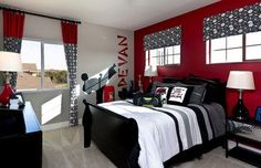 Kids bedroom in The Avonleigh with a fun karate theme and bright red accent wall! Bedroom Red, Teen Bedroom, Bedroom Decor, Bedroom Ideas, Red Black Bedrooms, Red Accent Bedroom, Red Bedroom Design, Boy Bedrooms, Accent Walls
