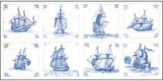Antique Dutch Tiles Delft Blue - Cross Stitch Kit