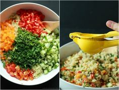 Quinoa Tabbouleh Salad an easy salad recipe that's done in 20 minutes; filled with fresh mint and parsley, fresh vegetables, and lemon juice. Light and low calorie, perfect for the summer! Easy Salad Recipes, Easy Salads, Easy Healthy Dinners, Easy Healthy Recipes, Quick Easy Meals, Vegetarian Recipes, Healthy Foods, Tabouleh Salat, Quinoa Tabbouleh