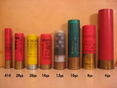 Ammo and Gun Collector: Shotgun Shell Gauge Size Comparison (never actually seen an 8 or 4 gauge, but have shot all the rest) Weapons Guns, Guns And Ammo, Trap Shooting, Skeet Shooting, Shooting Gear, Reloading Ammo, Hunting Guns, Deer Hunting, Home Defense