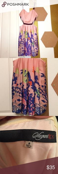 Floral Cut Out Silk Dress Super cute cut out dress never got to wear has just been sitting in my closet for the right occasion. No tags says a size small normally I wear 2-4 fits perfectly just never had the right event for it :( just trying to find a good home for it. Dresses Mini
