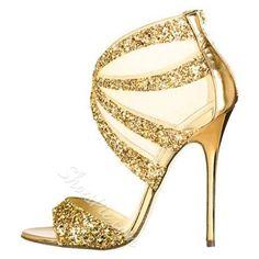 Shoespie - Shoespie Shoespie Classic Golden Sequin Fabric Dress Sandals - AdoreWe.com