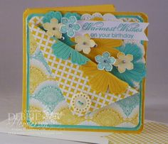Stampin' Up! Flower Punch, Petite Petals, Mixed Bunch, Blooming with Kindness by Debbie Henderson, Debbie's Designs.