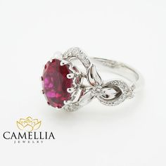 Oval Natural Ruby Alternative Ring White by CamelliaJewelry White Gold Ruby Ring, New Years Outfit, Alternative Engagement Rings, Natural Ruby, Unique Rings, Heart Ring, Gemstone Rings, Jewels, Gemstones