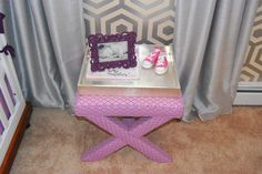 This #lavender stool looks great in a #yellow & #silver #nursery.