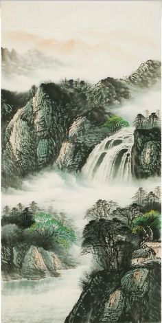 Fantastic Beauty. Traditional Chinese #Painting of the Beautiful Scenery of the Mountains and Rivers - replica