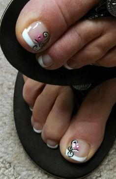 pink and black toes on french