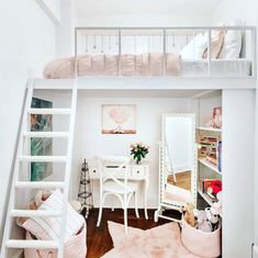 Stylish Bedroom Ideas For Small Rooms Some fantastic tips for making the most of a small bedroom! A good mix of both stylish and practical… and I really want the rose gold trunks shown. Cute Bedroom Ideas, Girl Bedroom Designs, Room Ideas Bedroom, Small Room Bedroom, Bedroom Loft, Kids Bedroom, Loft Room, Very Small Bedroom, Mezzanine Bedroom