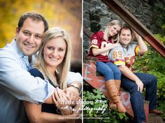Washington DC engagement photography session along the c canal in Georgetown. Go Redskins! See more by DC wedding photographer Irene Abdou at http://ireneabdouportraitsweddings.com