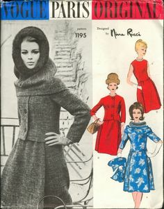 Vogue 1195 Vogue Paris Original 1195; 1960s; Nina Ricci - Two Piece Dress, Jacket and Hood.