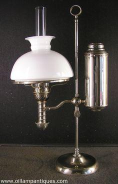 Manhattan Nickel Student Antique Oil Lamp Kerosene Lamp