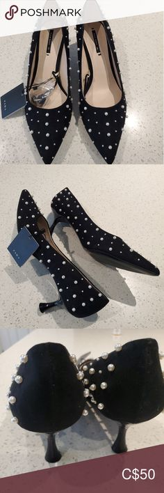 Pearl embellished kitten heels Brand new with tags and spare .heels about Zara Shoes Heels Zara Shoes, Shoes Heels, Plus Fashion, Fashion Tips, Fashion Trends, Zara Black, Minimalist Fashion, My Outfit, Parisian