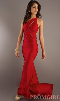 Sexy Long One Shoulder Dress, Prom Gowns, Evening Gowns- PromGirl