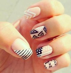 Easy and Simple Nail Art Designs for Beginners To Do At Homeawesome Nails Art-latest and großartige Tribal Nail Designs für 2019 Tribal Nail Designs, Tribal Nails, Cute Nail Art Designs, Simple Nail Designs, Pretty Designs, Chevron Nails, Tribal Art, Easy Designs, Leopard Nails