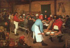< 농부의 결혼잔치>, 브뢰겔, 1568. 결혼식에서 빠질 수 없는 것이 음식대접이다. 함께 먹고 즐기며 결혼을 축하하고 행복을 나누는 것이다. 시골 농부의 결혼이라 그런지 상이 소박하다. 하지만 즐거워보인다.