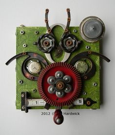 Owl Numbers   Recycled Art Assemblage  Found Object by redhardwick
