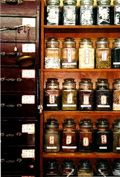 Jars of herbal remedies stock the shelves at this Chinese pharmacy.  August, 2007