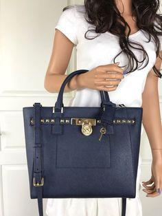 47aa27622ff39 Nwt michael kors navy blue saffiano leather studded satchel shoulder tote  bag