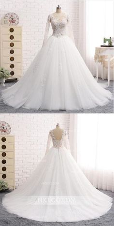 A Line Round Neck Long Sleeves Open Back Lace Wedding Dresses Best Bride Gown - 2019 Wedding Dresses - Inexpensive Bridesmaid Dresses, Cheap Wedding Dresses Online, Affordable Wedding Dresses, Cheap Prom Dresses, Dream Wedding Dresses, Bridal Dresses, Nice Dresses, Wedding Gowns, Lace Wedding Dress With Sleeves